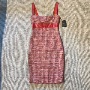 Dolce & Gabbana coral Tweed & snakeskin Midi dress